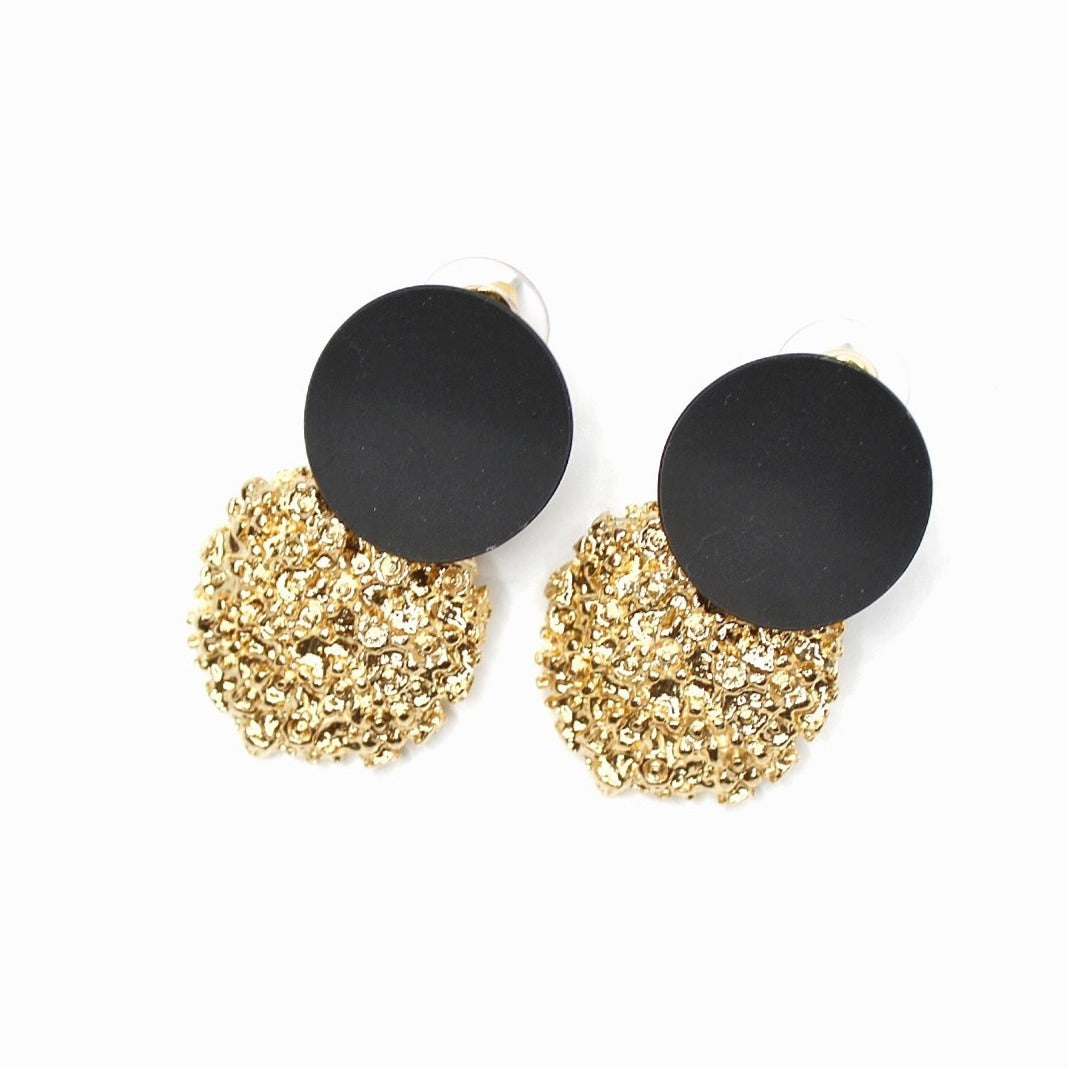 Buy beautiful Black and Gold Textured Circle Earrings - AWKN Jewelry's