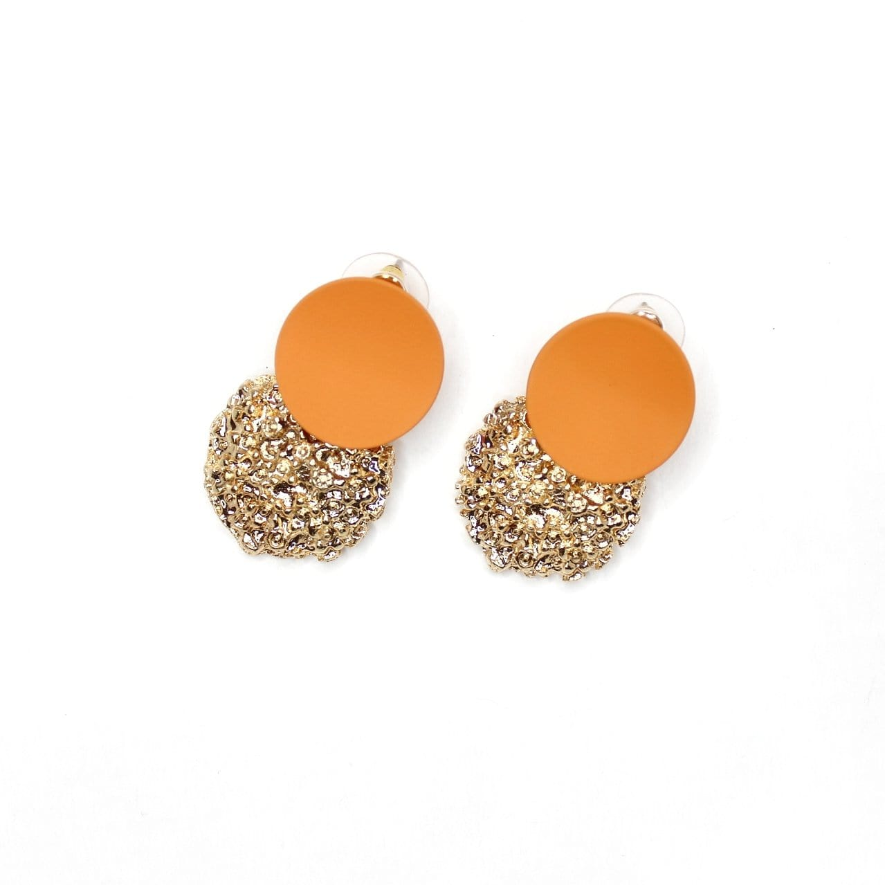 Buy beautiful Orange and Gold Textured Circle Earrings - AWKN Jewelry's