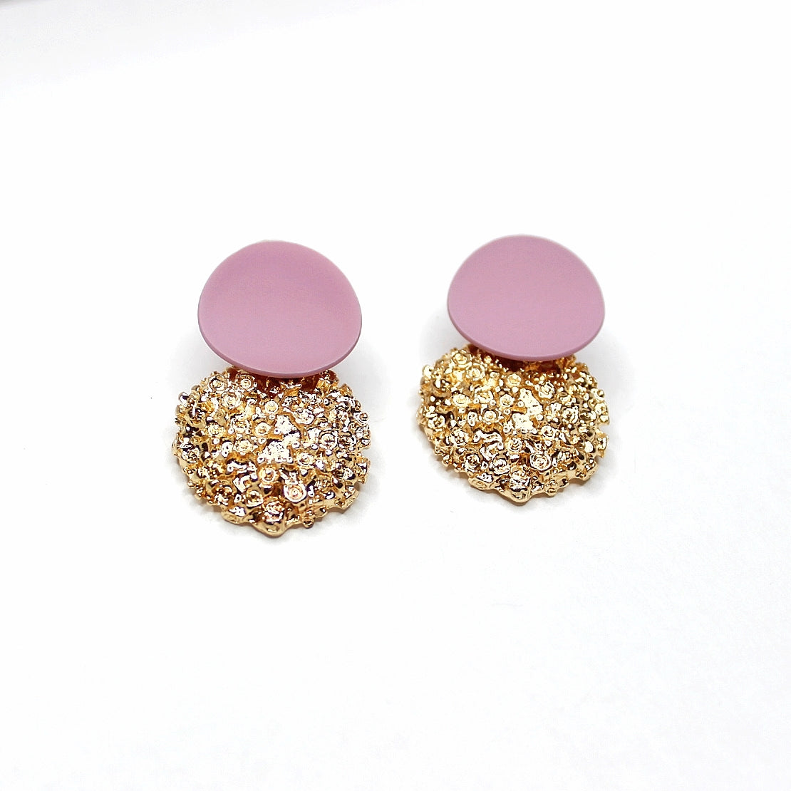 Buy beautiful Mauve and Gold Textured Circle Earrings - AWKN Jewelry's