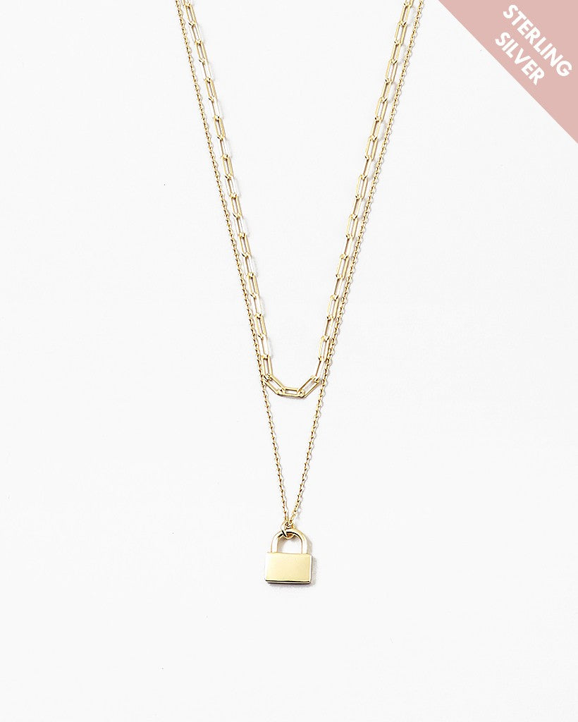 Double Layer Lock Sterling Silver Gold Chain