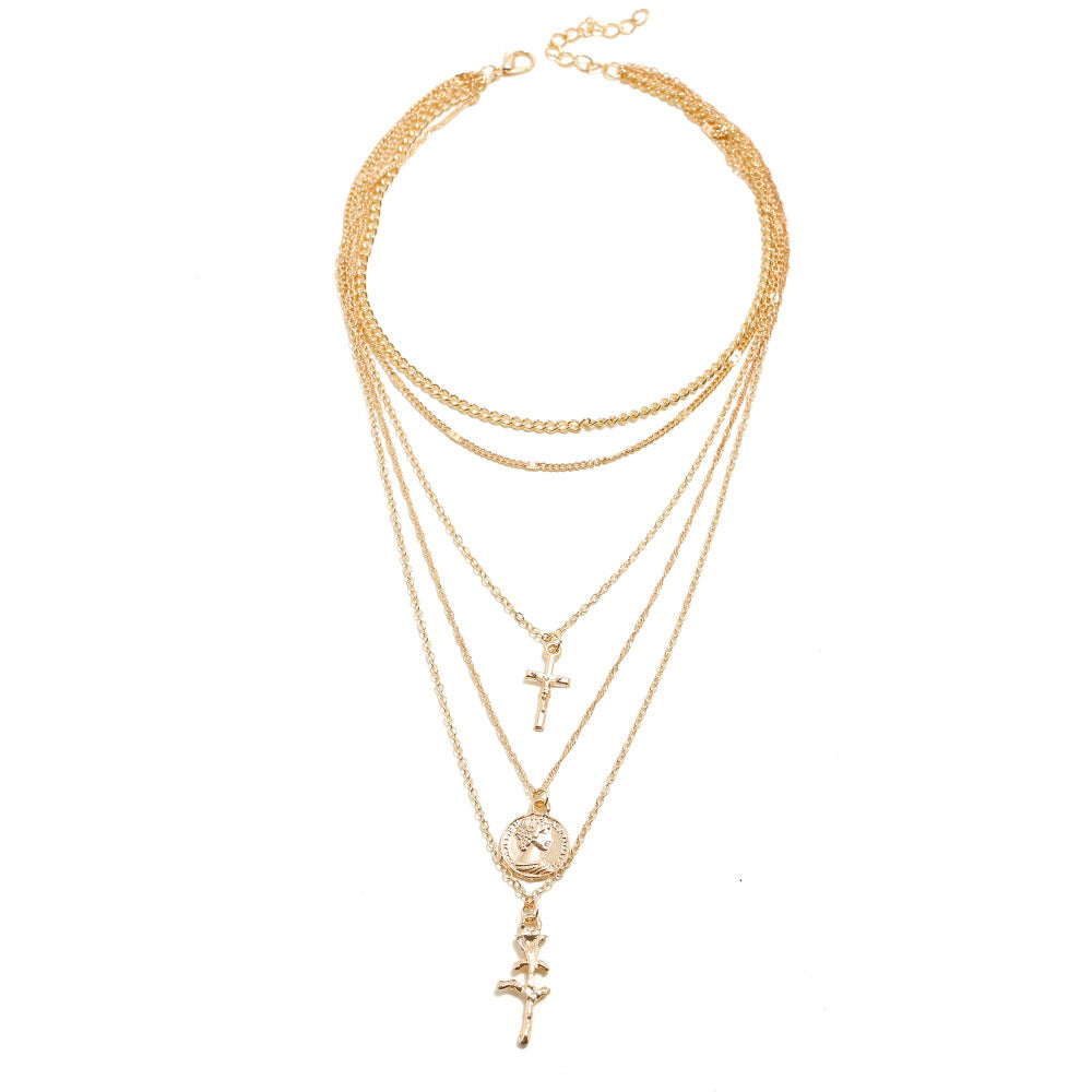 Multi-Layer Cross Gold Chains