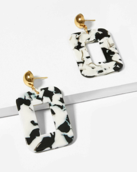Buy beautiful Black and White Marble Square Drop Earrings - AWKN Jewelry's