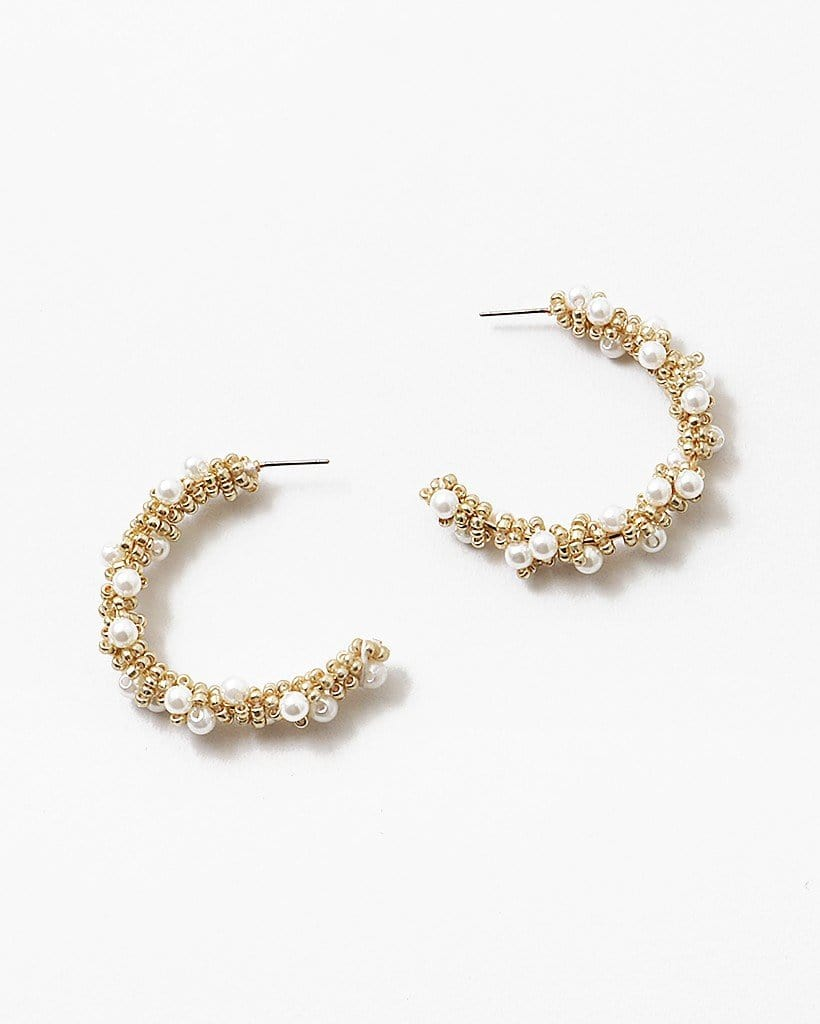 Buy beautiful White and Gold Beaded Pearl Hoops - AWKN Jewelry's
