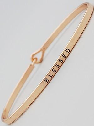 Buy beautiful Gold Plated Engraved Message Hook Bracelet | Blessed - AWKN Jewelry's