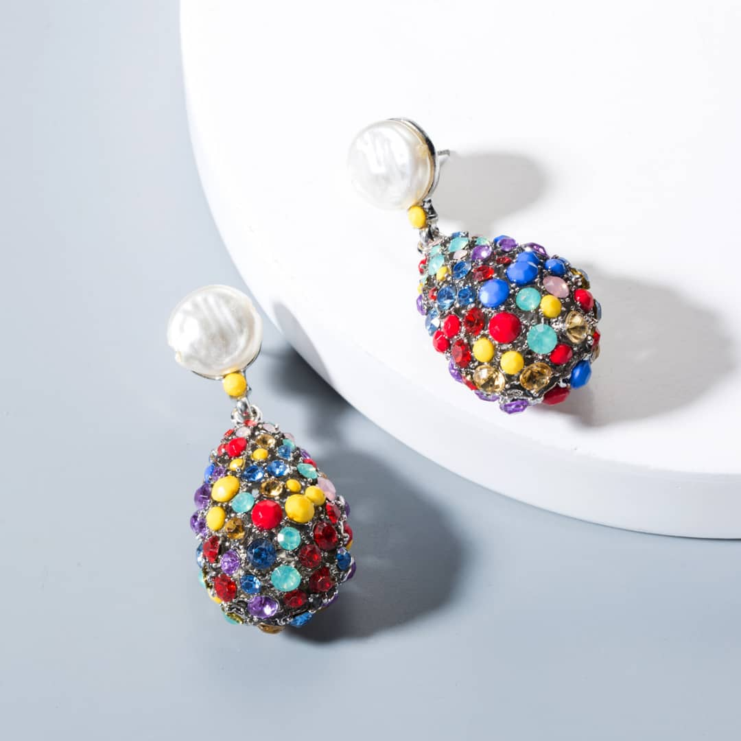 Multi-Color Gemstone and Pearl Drop Earrings
