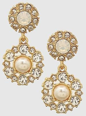 Buy beautiful Victorian Gold Crystal Pearl Drop Earrings - AWKN Jewelry's
