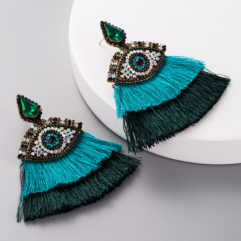 Buy beautiful Awakened Eye Deep Green & Teal Fringe Drop Earrings - AWKN Jewelry's
