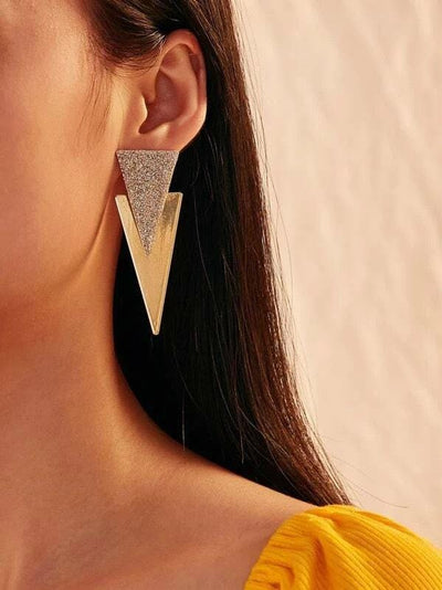 Buy beautiful Silver & Gold Triangle Drop Earrings - AWKN Jewelry's