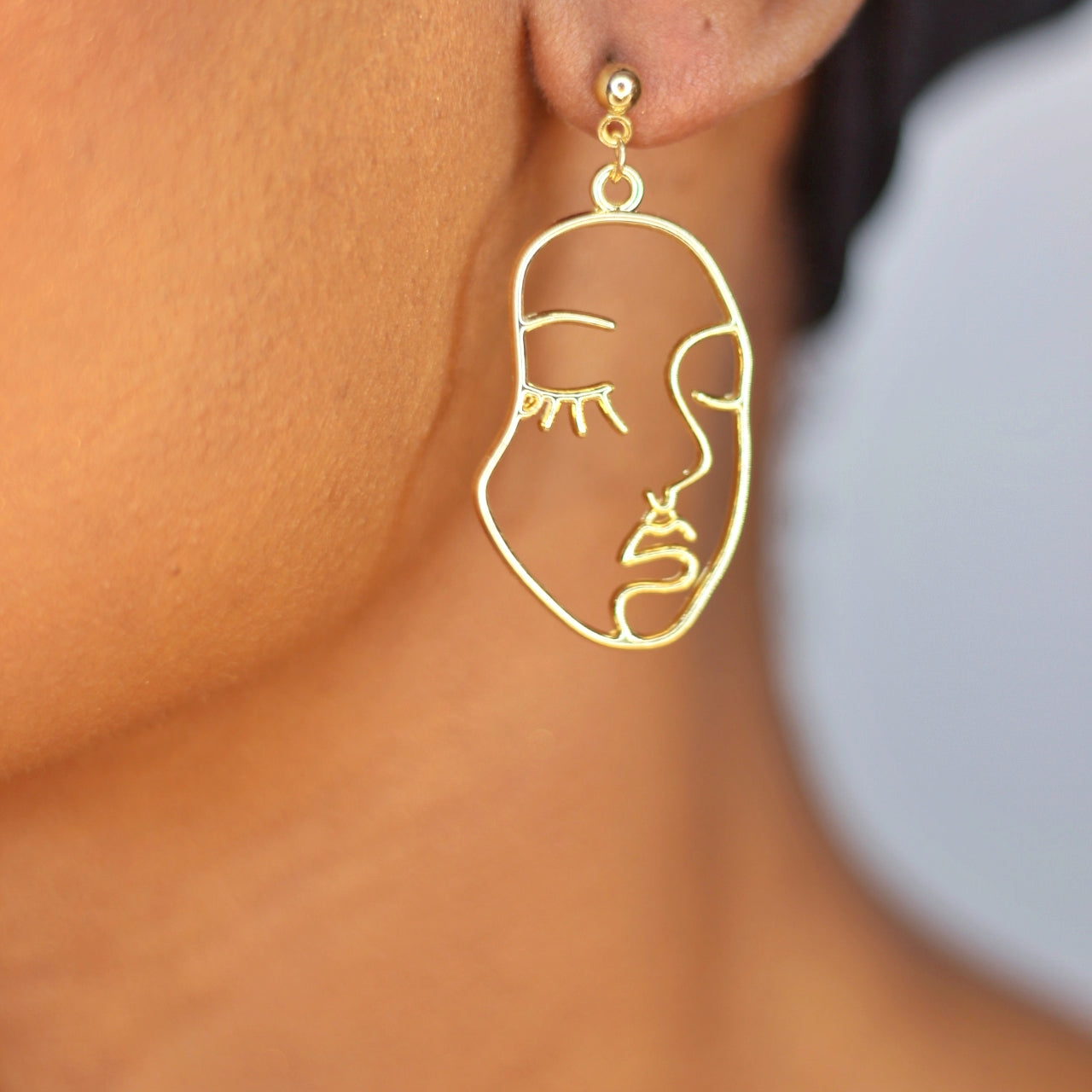Buy beautiful Face Forward Gold Drop Earrings - AWKN Jewelry's