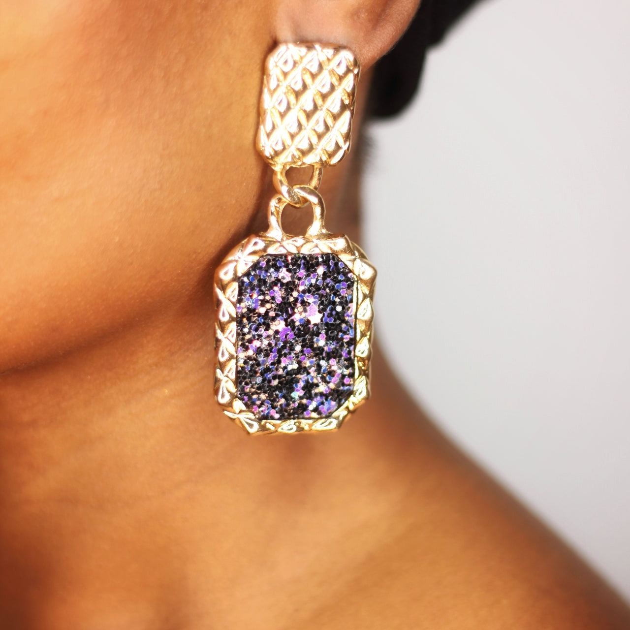 Buy beautiful Galaxy Rectangle Textured Gold Drop Earrings - AWKN Jewelry's
