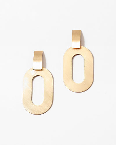 Buy beautiful Geometric Oval Gold Earrings - AWKN Jewelry's
