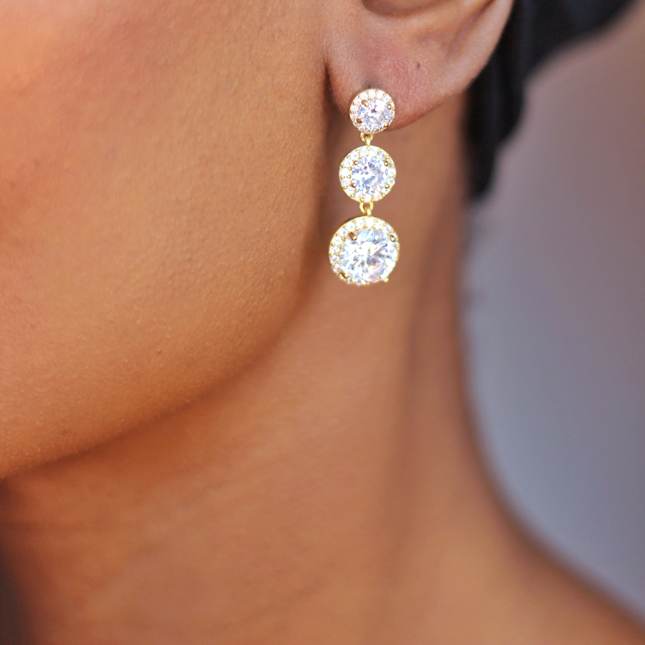 Buy beautiful Gold Bridal Cubic Zirconia Drop Earrings - AWKN Jewelry's