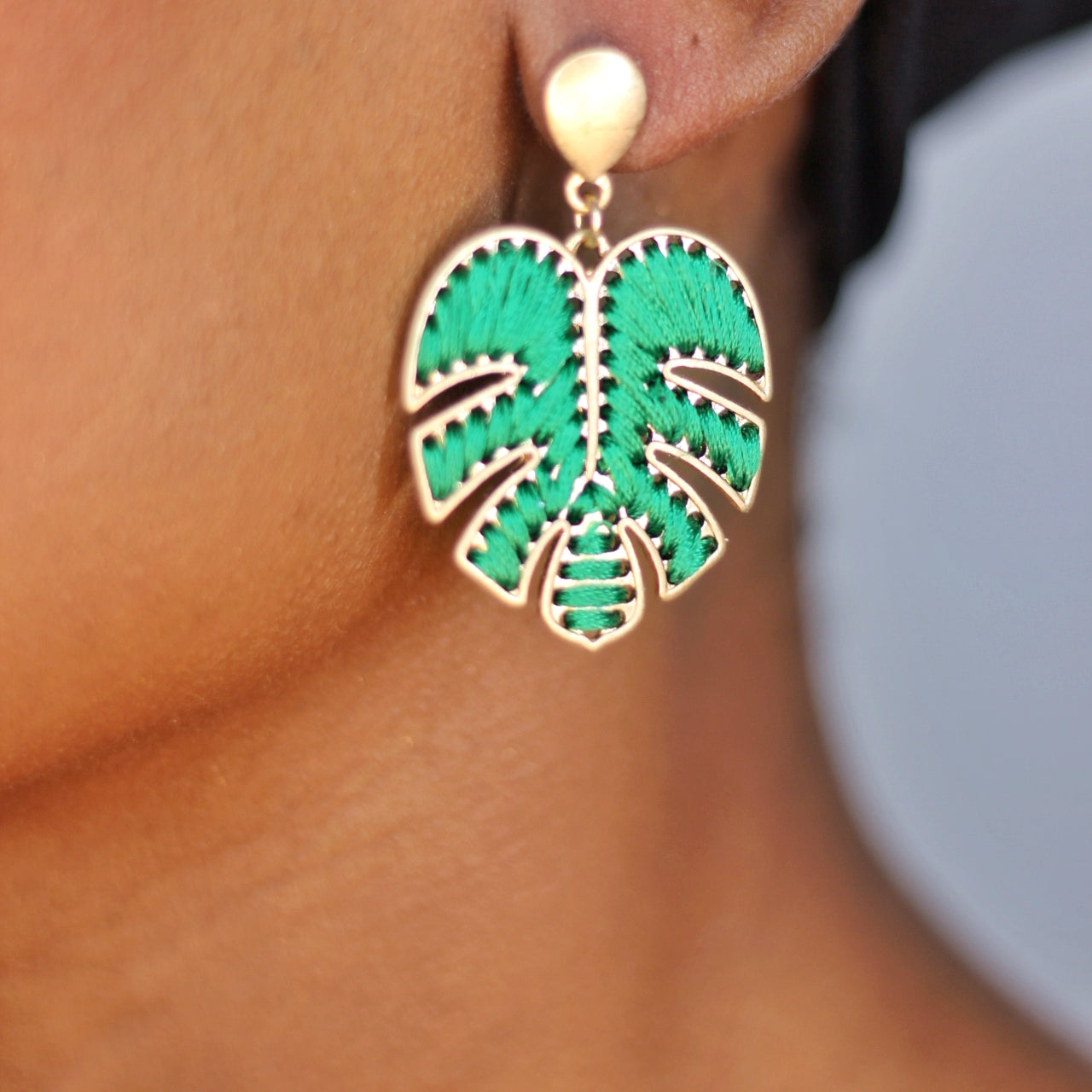 Buy beautiful Green Leaf Gold Drop Earrings - AWKN Jewelry's