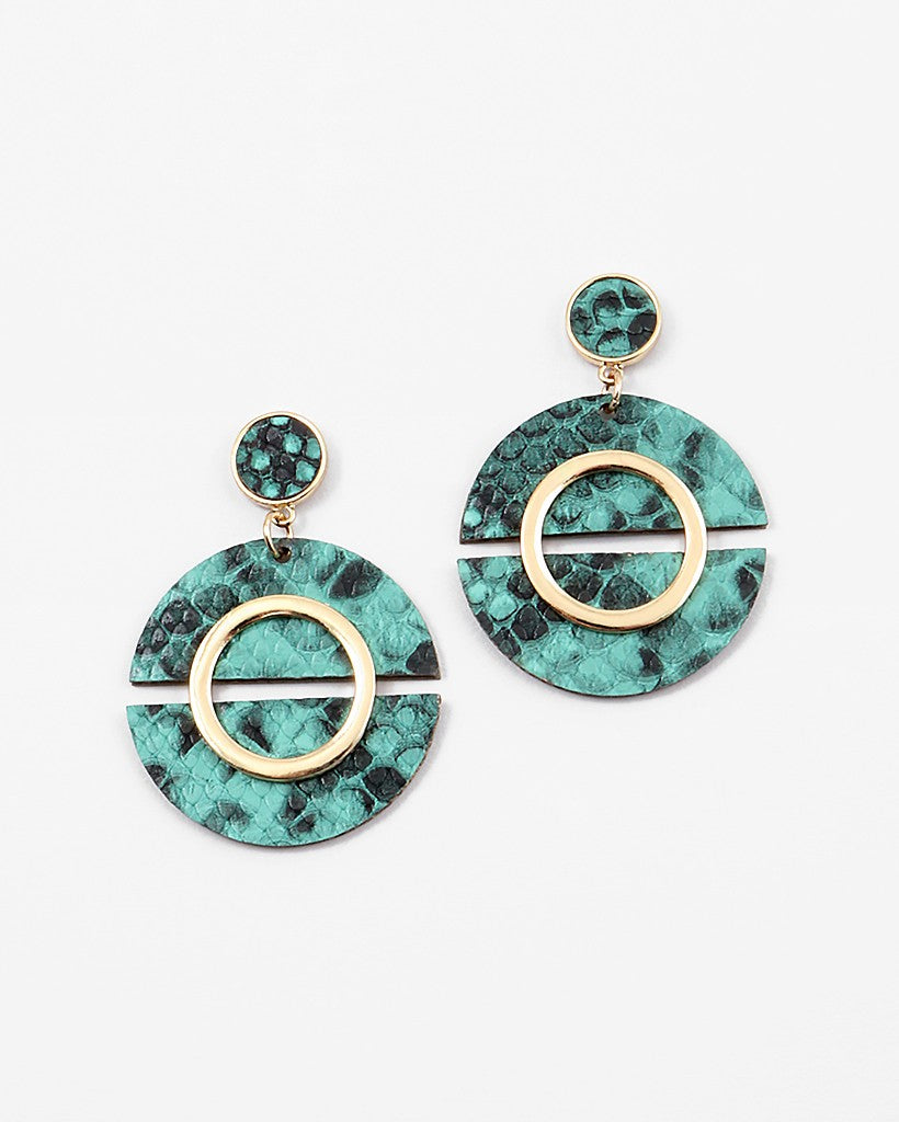 Buy beautiful Green Snakeskin Round Drop Earrings - AWKN Jewelry's