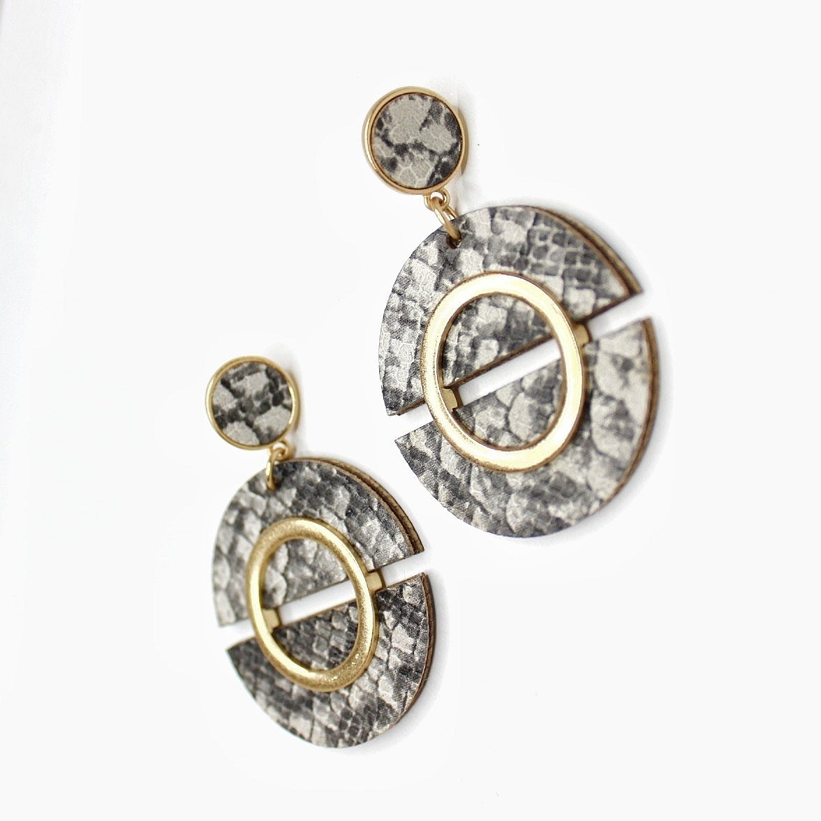 Buy beautiful Grey Snakeskin Earrings - AWKN Jewelry's