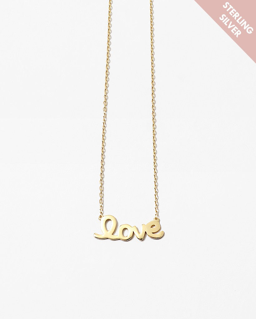 Buy beautiful Love Charm S925 Gold Necklace - AWKN Jewelry's