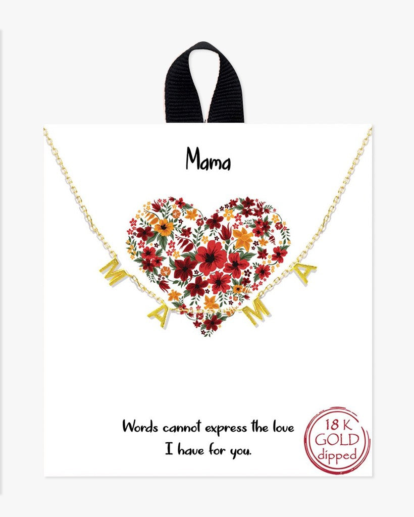 Buy beautiful Mama 18k Gold Plated Necklace with Message - AWKN Jewelry's