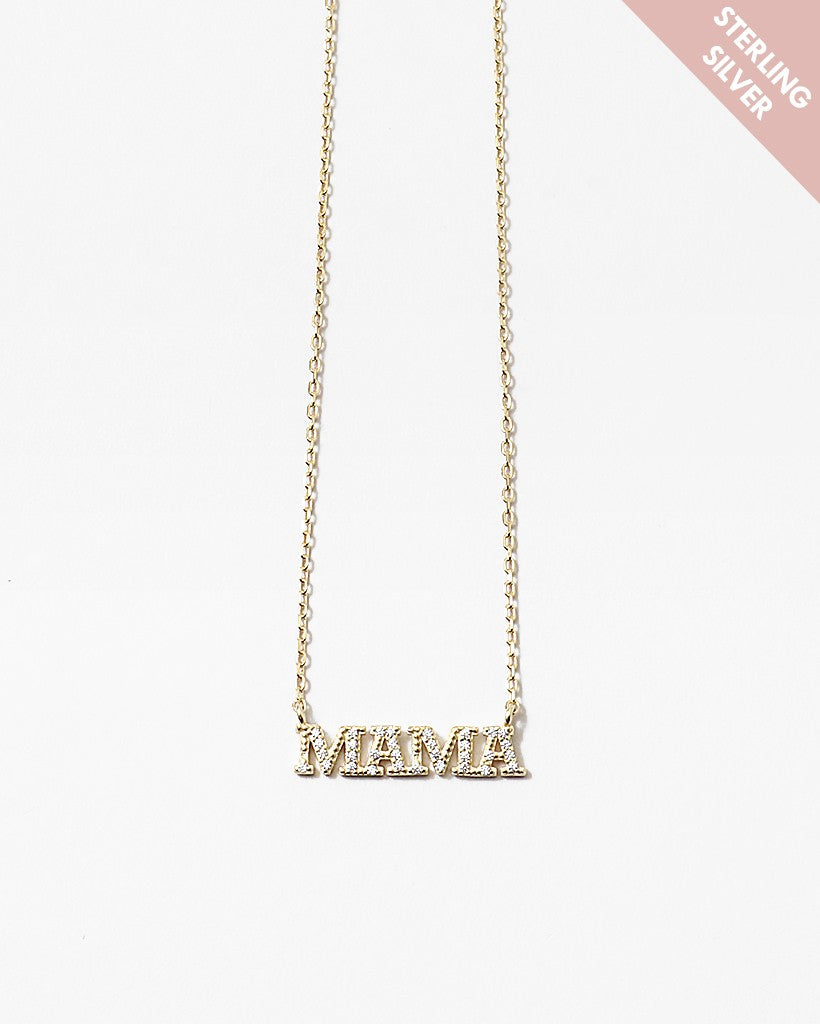 Mama Sterling Silver Gold Chain Necklace