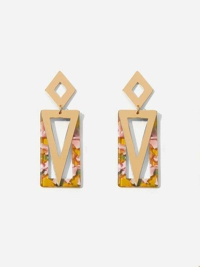 Buy beautiful Gold and Marble Multi-Shape Drop Earrings - AWKN Jewelry's