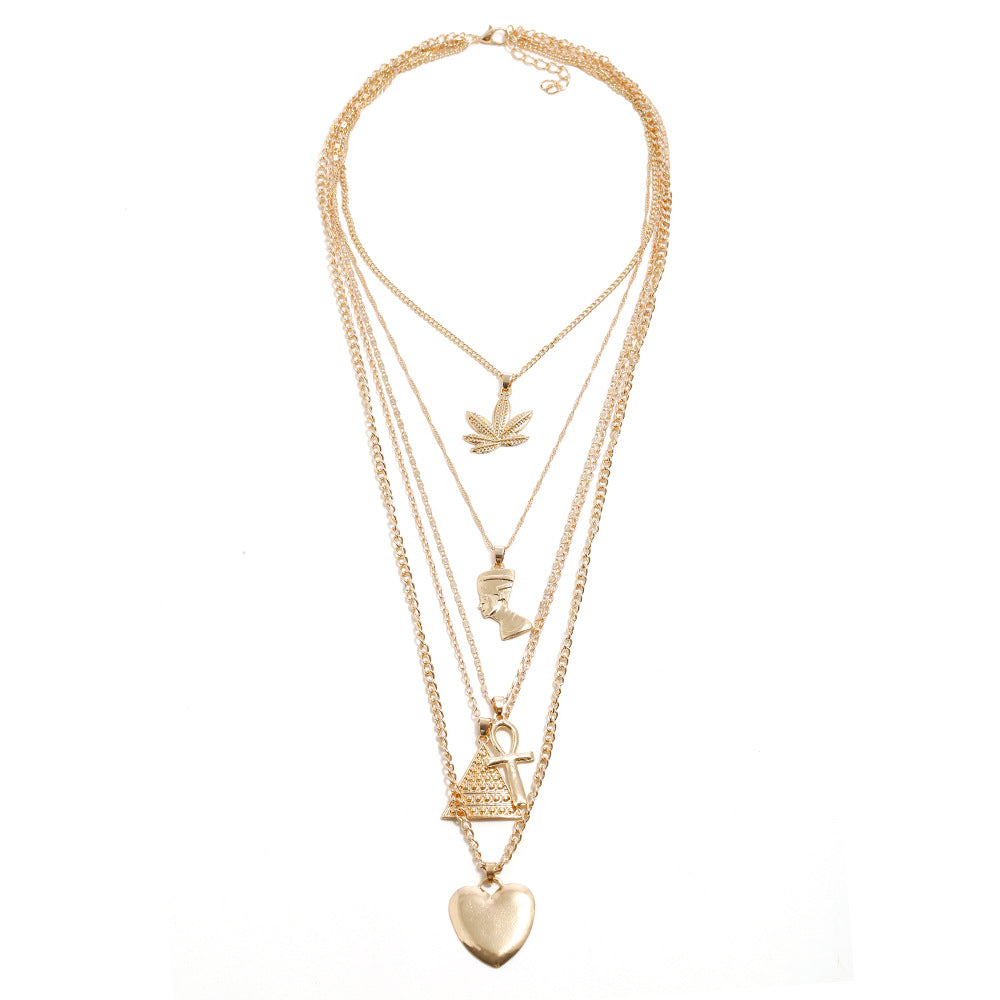 Multi-Layer Goddess Gold Chains Necklace