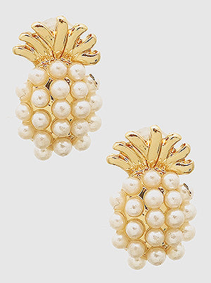 Buy beautiful Dainty Pineapple Express Pearl Stud Earrings - AWKN Jewelry's