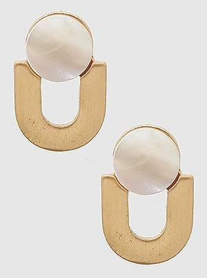Buy beautiful Pearl and Worn Gold U-Shape Earrings - AWKN Jewelry's