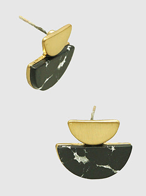 Buy beautiful Black Marble and Brass Gold Semi Circle Stud Earrings - AWKN Jewelry's