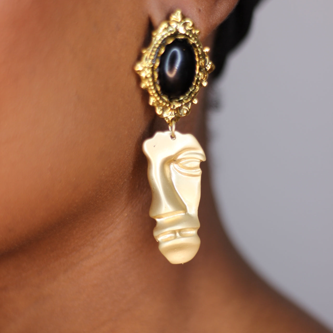 Buy beautiful Victorian Textured Face Gold Drop Earrings - AWKN Jewelry's