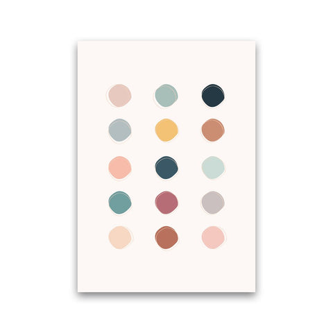 An abstract pastel wall art print with pale pink, pale yellow, pale blue, pale green, pale grey dots