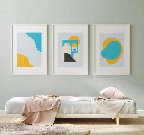 Pixy Paper Prints in A2 frames - abstract wall art in white frames