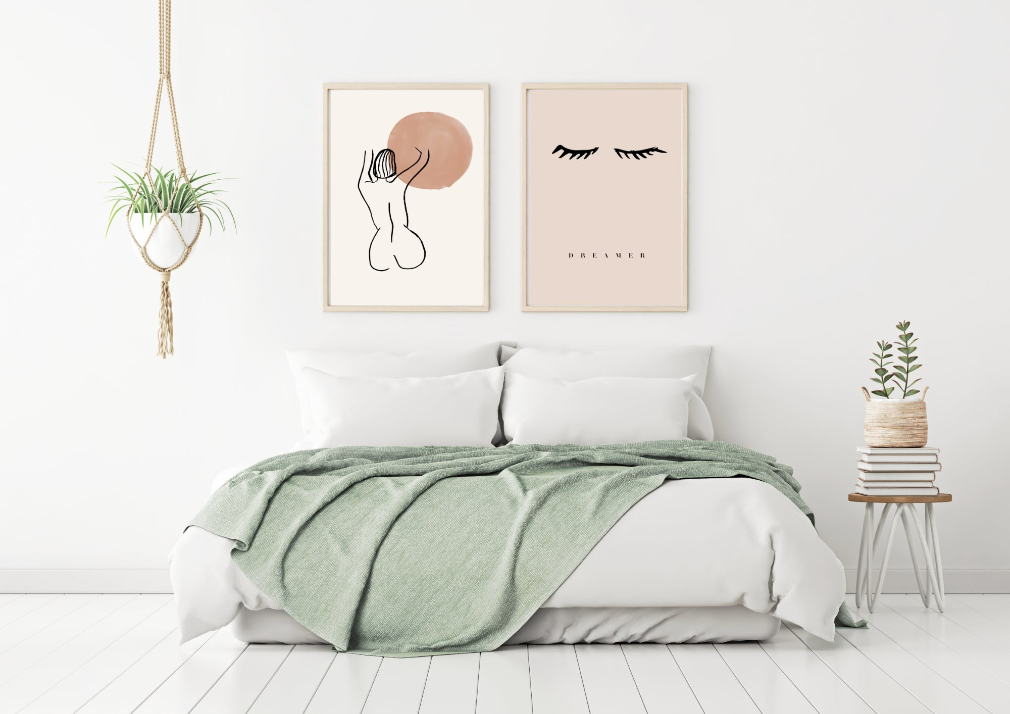 Art for interior designers - two art prints in a bedroom setting