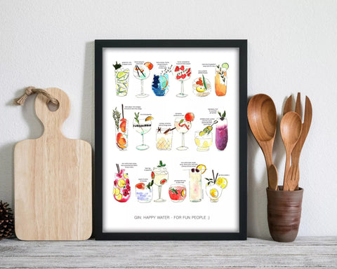 A kitchen art print featuring a watercolour painting with various cocktails in a kitchen setting with utensils and a chopping board.