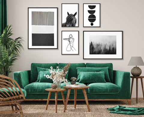 Living room wall art - a monochrome gallery of prints to add style to your lounge