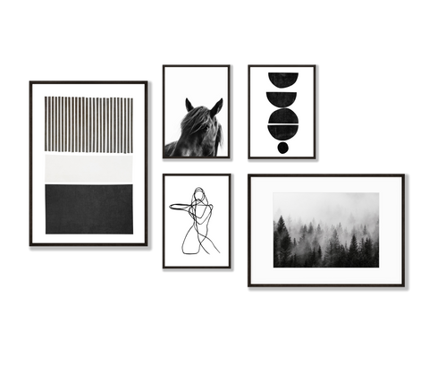Monochrome Gallery Wall - a set of 5 black and white prints for hanging together in a gallery wall