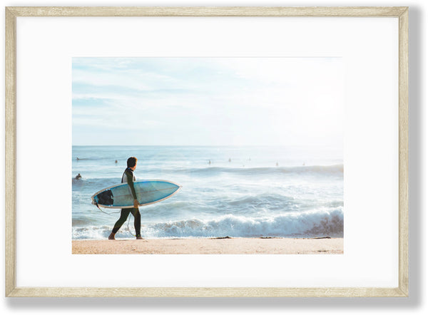 Pray for Surf, beach photography art print by Gal Design featuring surfer and sea
