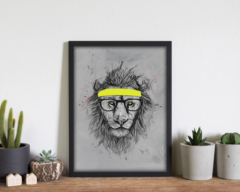 Hipster Lion Animal Art Print by Balaz Solti