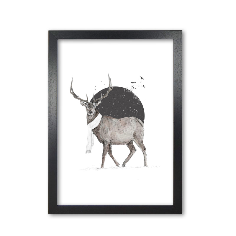 Winter Is All Around Stag Colour Animal Art Print by Balaz Solti