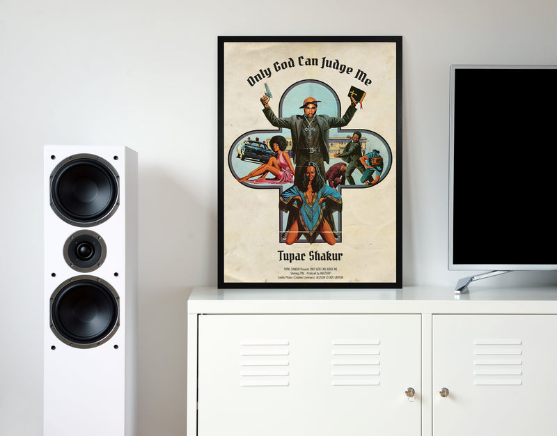 Tupac only god can judge me retro music poster framed wall art print