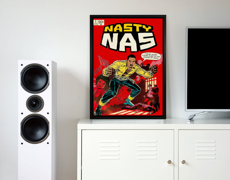 Nasty nas retro music poster framed wall art print