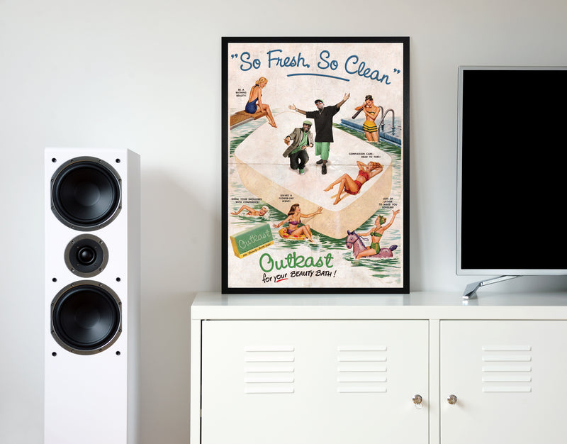 Outkast so fresh so clean retro music poster framed wall art print