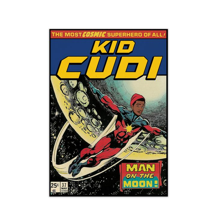 Kid cudi retro music poster framed wall art print