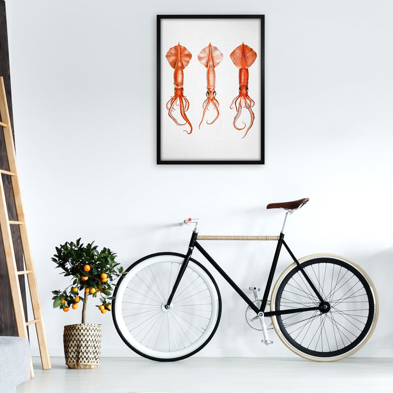 Squids - Watercolor Animals Art Print by Gal Design A1 White Frame