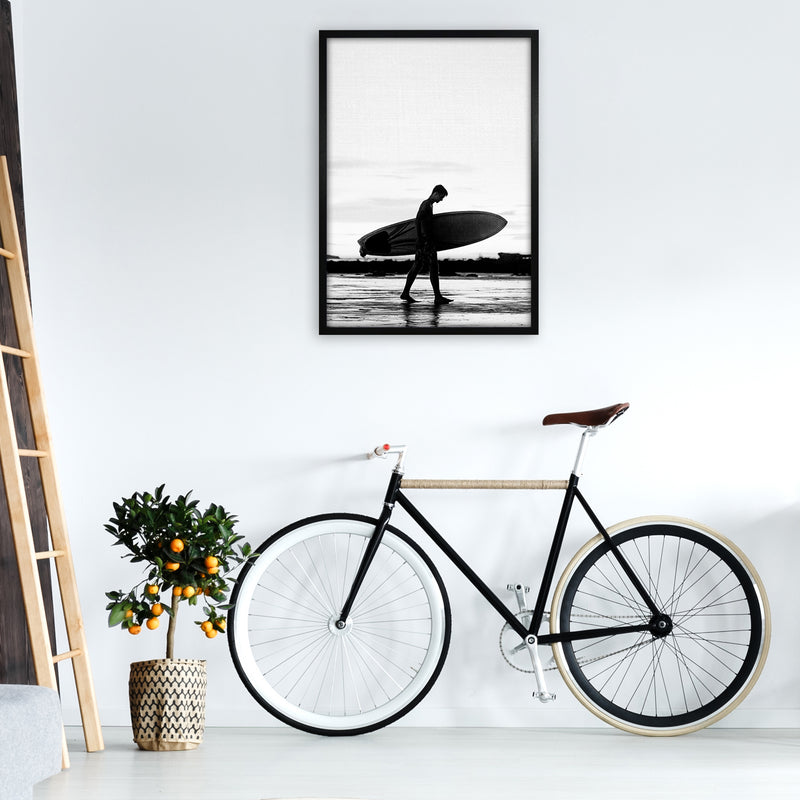Surf Boy People Art Print by Gal Design A1 White Frame