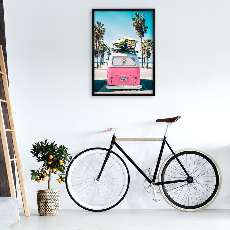 Van Life in Pink Photography Art Print by Gal Design A1 White Frame