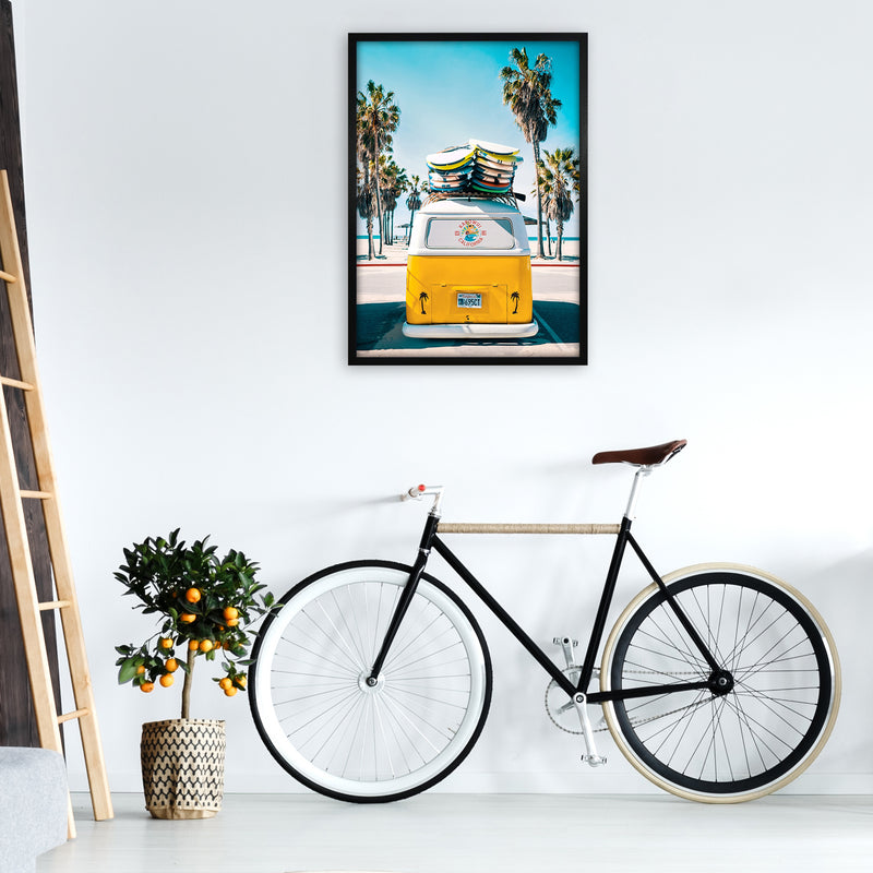 Van Life in Yellow Photography Art Print by Gal Design A1 White Frame