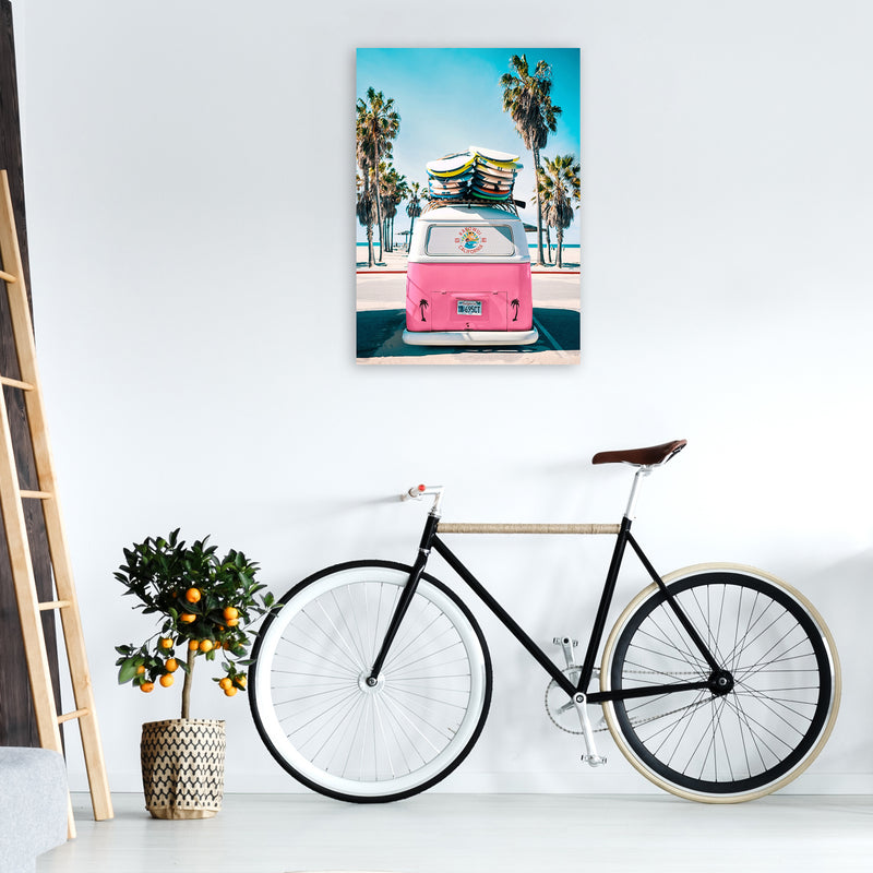 Van Life in Pink Photography Art Print by Gal Design A1 Black Frame