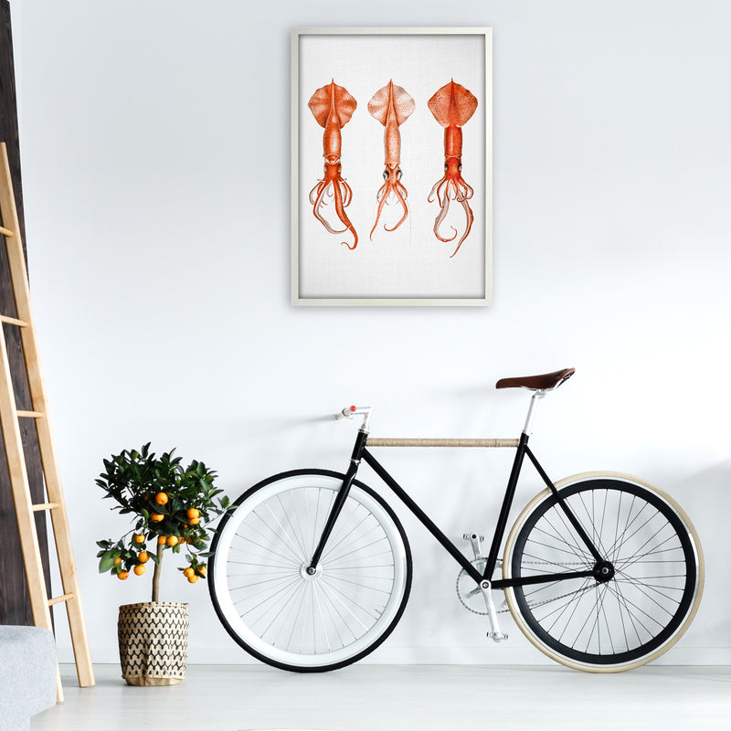 Squids - Watercolor Animals Art Print by Gal Design A1 Oak Frame