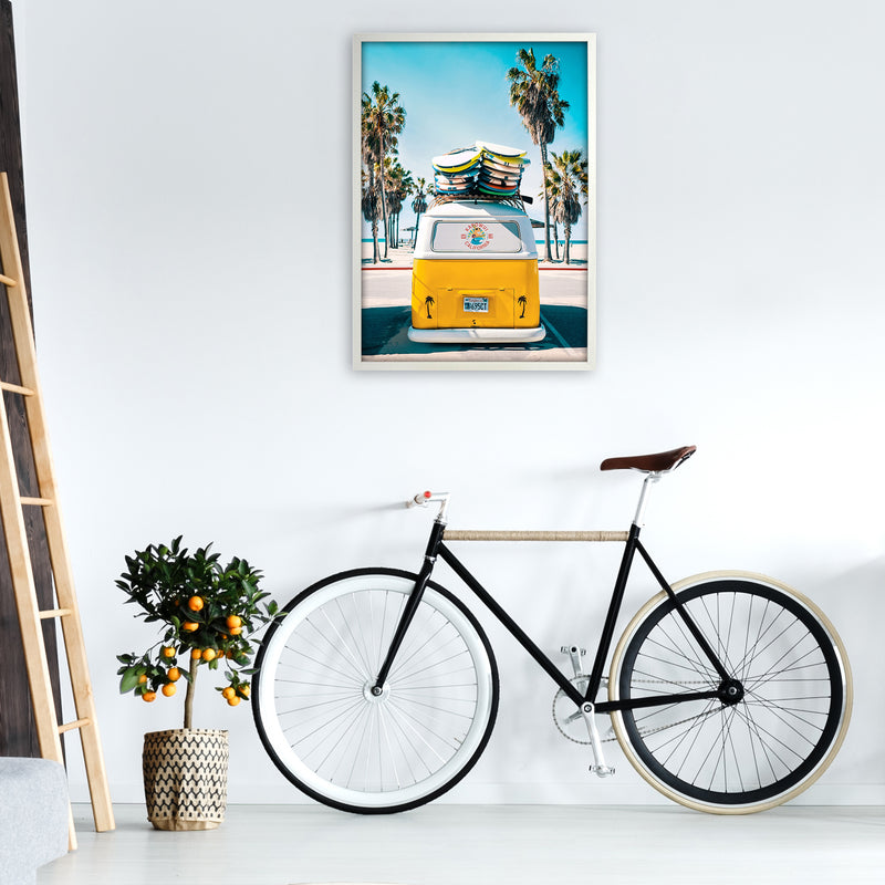 Van Life in Yellow Photography Art Print by Gal Design A1 Oak Frame