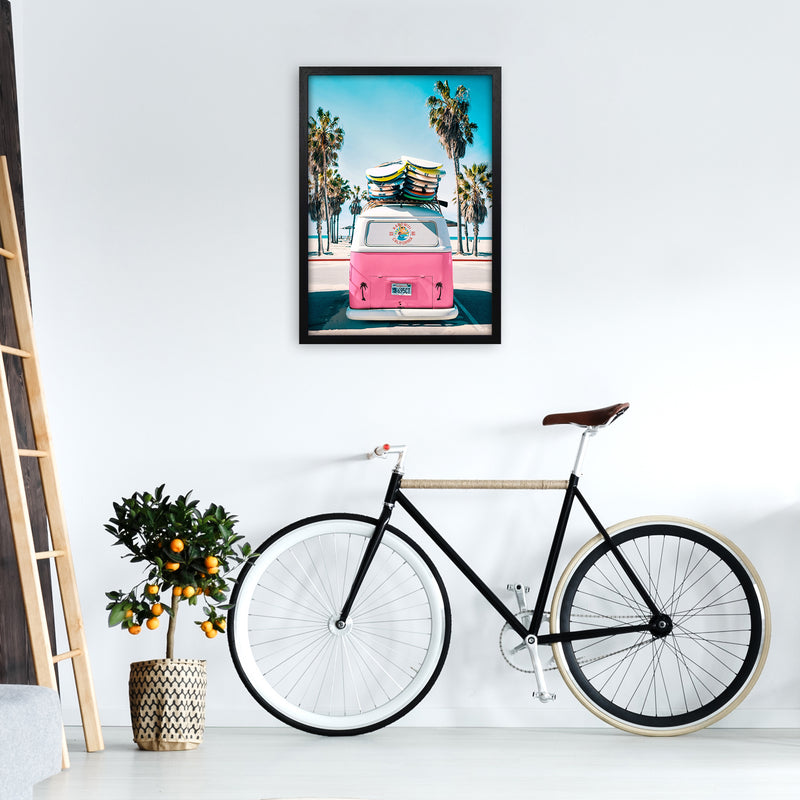 Van Life in Pink Photography Art Print by Gal Design A2 White Frame