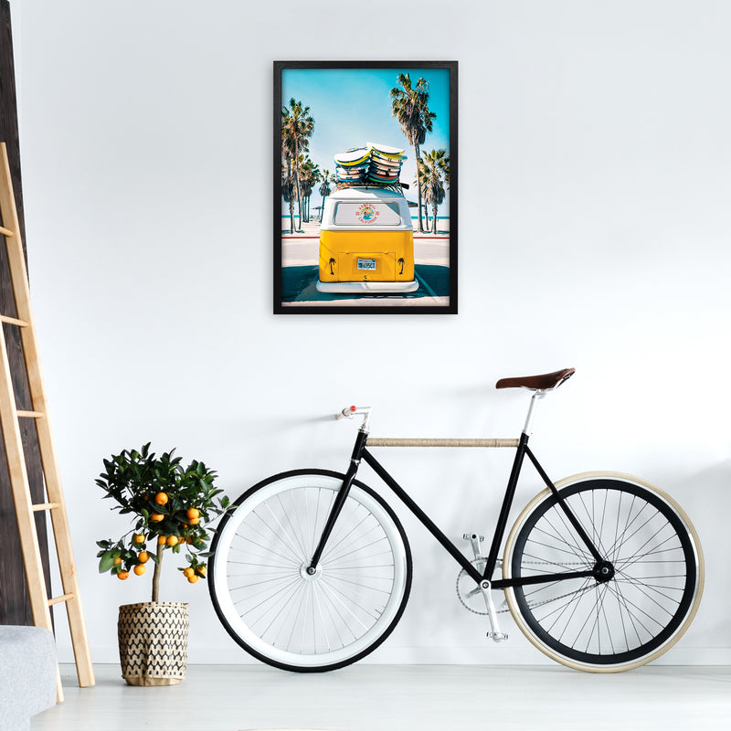 Van Life in Yellow Photography Art Print by Gal Design A2 White Frame